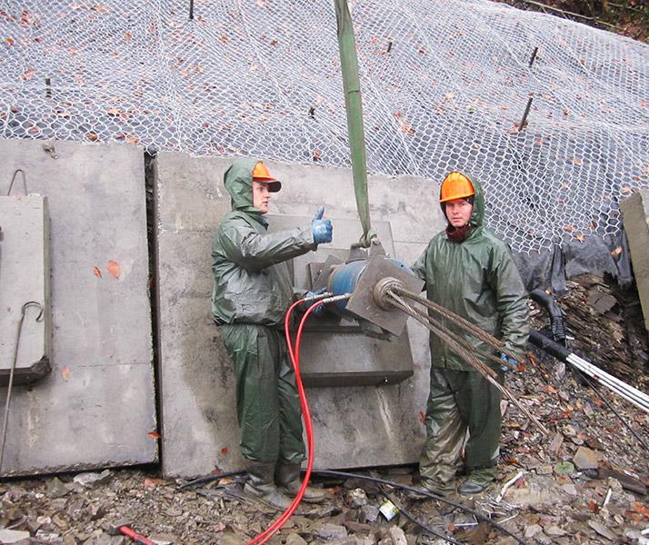 Установка анкеров на цементном растворе раскраска бетона